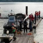 Staging area for debeck task on Pitt Lake