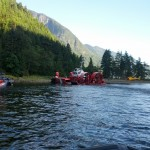 CCG Syyay, CCG RHIB and Talon Helicopters at Granite Falls