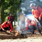 Survival station: light a fire with flint and steel, boil water