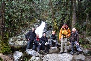 Crystal Falls hike - teacher Shawn O'Brien on the left, Coquitlam SAR members Sandy Burpee and Bob Hetherington on the right