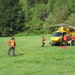 Crews rigging the helicopter