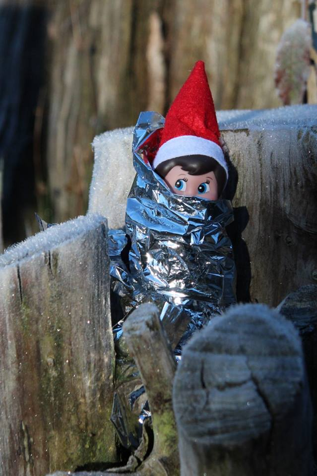 If an elf gets stranded or injured, they know an emergency shelter can be critical. An foil blanket or heavy duty garbage bag can help keep an elf insulated and dry. #SARelf #10essentials
