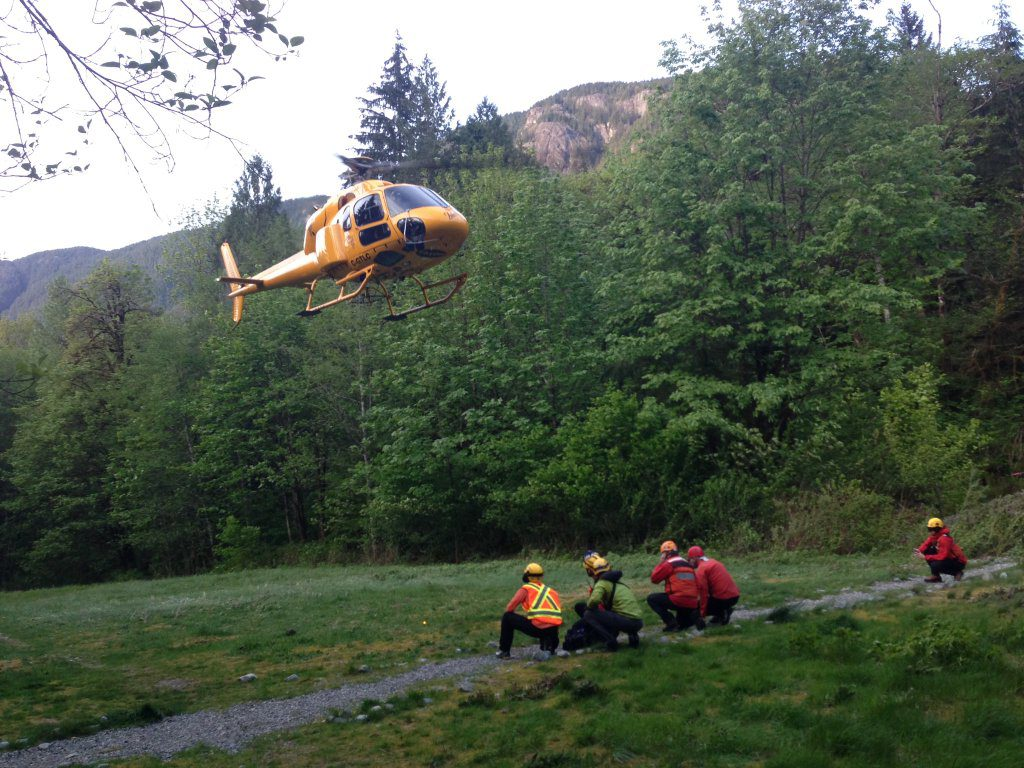 Rescued subjects landing at Buntzen Lake
