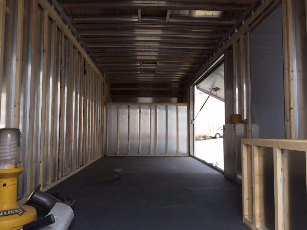 Interior with framing looking forward