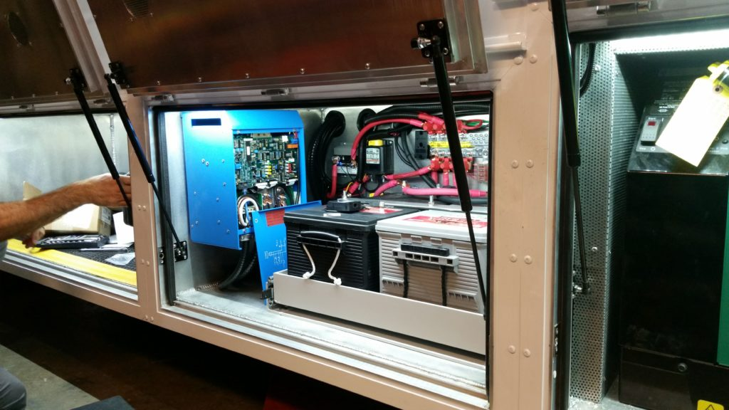 Inverter, batteries and power distribution