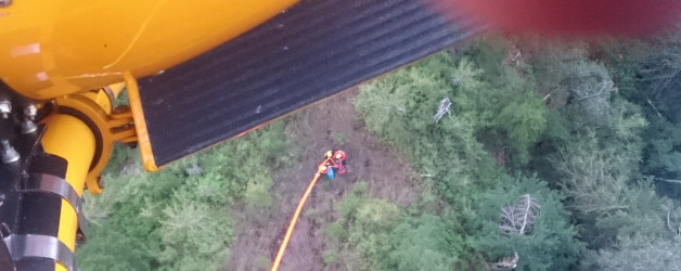 Helicopter rescue near Evans Peak
